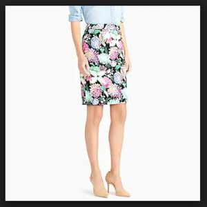 J. Crew Printed Stretch Sateen Pencil Skirt Size 0